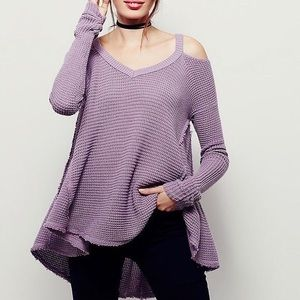 Free People Waffle Sunrise Cold Shoulder Sweater